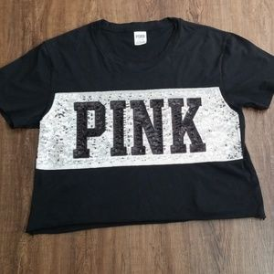 Pink Victoria's Secret Cropped T-shirt Size- L